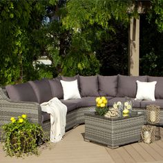 """<ul class=""""bulleted-list"""">This stylish 4-piece Cayman sectional set features plush seat and back cushions set atop study rattan frames in two-tone grey. Finished with a matching accent table topped with tempered glass, outfit your outdoor space with this luxurious set</ul>  #OSummer"""