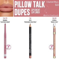 Charlotte Tilbury Pillow Talk Lip Cheat Lip Liner Dupes - All In The Blush - -. Charlotte Tilbury Pillow Talk Lip Cheat Lip Liner Dupes - All In The Blush - - Charlotte Tilbury Pillow Talk, Charlotte Tilbury Dupe, Natural Lip Colors, Colors For Skin Tone, Natural Lips, Natural Beauty, Stil Inspiration, Makeup Inspiration, Pillow Talk Lipstick