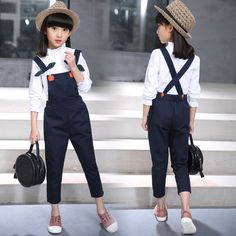 Toddler Girl Clothes Autumn Long Sleeve White Blouse + Overalls Jeans Two Pieces Back To School Outfits Kids Teens Clothes 10 12 Toddler Fall Outfits Girl, Cute Girl Outfits, Kids Outfits, Outfits For Teens For School, School Outfits, Cute Birthday Outfits, Jumper Shirt, Men With Street Style, Autumn Clothes