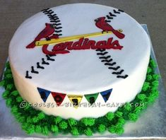 I did this Cardinals baseball cake for my co-worker's husband. I did the logo and the pendants that make up the name out of fondant and piped the thre. Baseball Birthday Cakes, Diy Birthday Cake, Birthday Parties, Baseball Cakes, Baseball Party, Birthday Ideas, Rolling Fondant, Cardinals Baseball, Cake Pictures