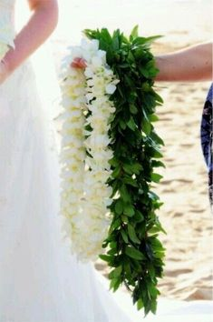 Purple Orchid Lei White Double Orchid lei & a Polynesian Maile leiWhite Double Orchid lei & a Polynesian Maile lei Maui Weddings, Hawaii Wedding, Destination Wedding, Wedding Planning, Wedding Beach, Wedding 2017, Our Wedding, Dream Wedding, Orchid Lei