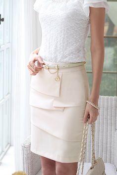 Cream pencil skirt.
