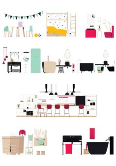 Ideas Kitchen Plan Drawing Layout For 2019 Flat Design, Modern Design, 3d Design, Design Ideas, Graphic Design, Trendy Furniture, Furniture Design, Furniture Stores, Cheap Furniture