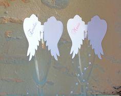 Marque place aile d'ange sur verre personnalisé pour baptême, communion, anniversaire