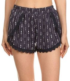 Women's Casual Shorts - Simplicity Juniors Floral Pattern Lace Summer Beach Shorts *** Want additional info? Click on the image. (This is an Amazon affiliate link)