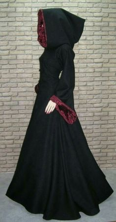 """Womens Reversible Hooded Black and Red Cape.  """"Gothic Clothing"""""""