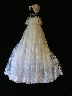 """Angela West Christening gown set """" Monica Rose"""" whte size TBD silk slip with organza flounce,bonnet,booties, Blanket and bib. Lace Christening Gowns, Christening Outfit, Baptism Dress, Baby Christening, Girl Baptism, Baby Blessing Dress, Monica Rose, Baby Gown, Ivoire"""