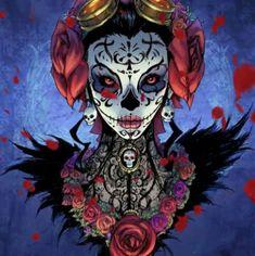 Sugar Skull Costume, Sugar Skull Art, Sugar Skulls, Day Of The Dead Artwork, Hispanic Art, Skull Painting, Samurai Art, Skull Makeup, Art Memes