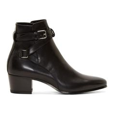 Saint Laurent Black Leather Strappy Blake Ankle Boots