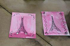 Paris Birthday Party - craft for kids - sponge paint and parent adds black puff paint after Paris Birthday Parties, Birthday Party Themes, Birthday Ideas, Paris Crafts, Golden Birthday, 9th Birthday, Parisian Party, French Crafts, Fancy Nancy