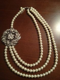Bridal Statement Necklace W/pearls & Rhinestones, 26% off | Recycled Bride