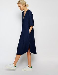 Modest button up shirt dress with sleeves | Shop Mode-sty #nolayering
