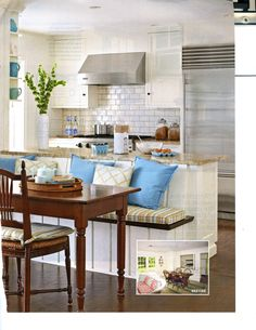 Bench for one side of dining table backing onto kitchen; From Better Homes & Gardens, June 2012.  Love this magazine!