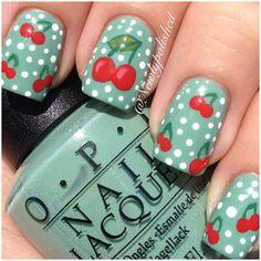 Rockabilly style cherry nail art