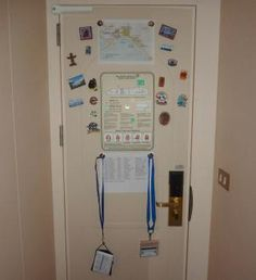 16 Clever Cruise Hacks Seen on Pinterest: Use magnets to turn your door into a command center