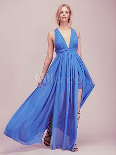 Green Maxi Dress Chiffon V Neck Sleeveless Backless Slit Long Dress For Women