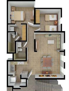 Planos de Casas y Plantas Arquitectónicas de Casas y Departamentos: Plantas Arquitectónicas de departamento de 2 habitaciones en Balcones de las Mitras