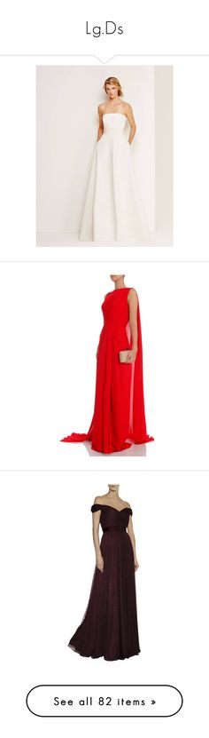 """Lg.Ds"" by duchessq ❤ liked on Polyvore featuring dresses, gowns, gown, long ball gowns, sheer gown, long red gown, red ball gown, red evening gowns, brown dress and tulle evening gown"
