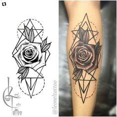 Black and grey geometric rose tattoo