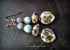Lampwork Glass, Lampwork Headpins, Primitive, Organic, Rustic, Earthy, Agate, Beaded Earrings by YuccaBloom on Etsy