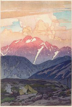 Yoshida Hiroshi, Morning on Mount Tsurugi; 1926 woodcut