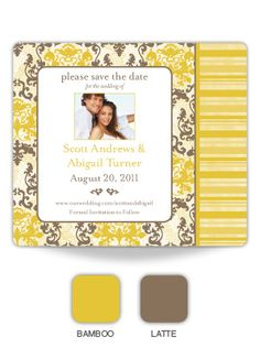 Halifax Damask Save The Date Magnet (personalized in Bamboo and Latte) *LOVE* the elegant, antique feeling of this one!