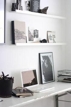 White wooden shelf ledges.