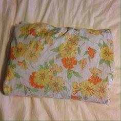 VTG Full Fitted Bed Sheet Flower Power Fabric Cutter 70s Penn Prest Muslin Retro #PennPrest