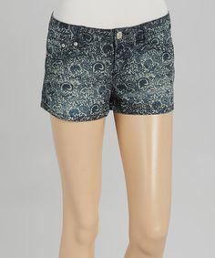 Look at this #zulilyfind! Dark Wash Paisley Denim Shorts #zulilyfinds
