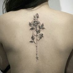 Rose Tattoos Designs for Men and Women, Rose Tattoo Meaning // September, Back Tattoo Women Spine, Back Tattoos Spine, Rose Tattoo On Back, Tattoo Spine, Rosen Tattoo Frau, Rosen Tattoos, Tattoos For Women Small, Small Tattoos, Tattoos For Guys