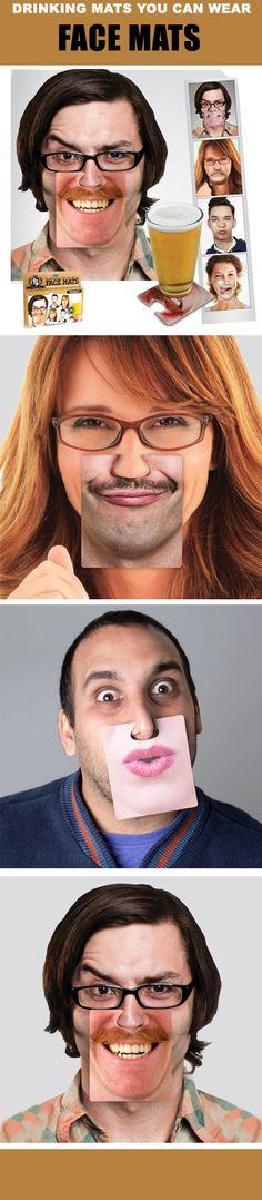 Onderzetters met een extraatje. Face Mats kan je namelijk ook op je neus vastklemmen! Een tandeloze babygrijns, kussende vrouwenlippen, een baard of een snor? Je kan ze vinden op www.ditverzinjeniet.be