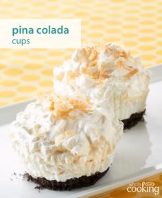 Pina Colada Cups – The flavors in your favorite tropical drink can be found in this delicious dessert recipe. The hardest part of this easy-to-make treat? Waiting for them to completely cool in the freezer. No Bake Desserts, Just Desserts, Delicious Desserts, Yummy Food, Icebox Desserts, Pina Colada, Baking Recipes, Cake Recipes, Yummy Treats