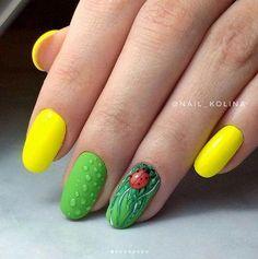 summer nail art ideas you'll wish to try 1 Ladybug Nails, Bee Nails, Animal Nail Designs, Nail Art Designs, Fruit Nail Art, Cool Wrist Tattoos, Chevron Nails, Nails For Kids, Fabulous Nails