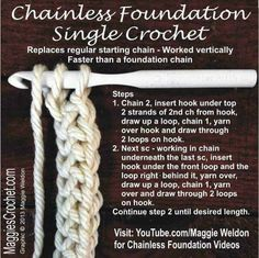 Chainless Foundation Single Crochet A new group on Facebook. I <3 Crochet Community Board. Come join the fun, No restrictions, so share away.