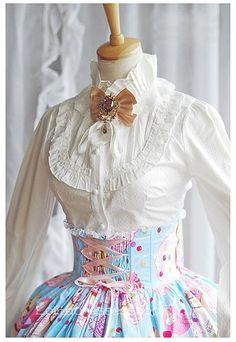White Stand Collar Long Sleeve Ruffle Princess Lolita Blouse