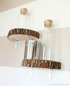 DIY Modern Industrial Wood Slice Shelves - just have to find nicer brackets for the shelves and these would be beautiful in our son's woodland themed bedroom.