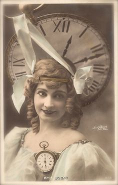 The Wheel of Time, Miss Bugny Belle Epoque French Theatre Actress Surreal Edwardian Clock Fantasy Original Rare 1900s Postcard by Paul Boyer