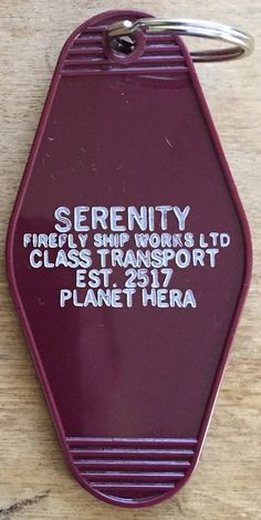 Fans of the TV Show FIrefly can pretend we're about to board the Serenity with this keytag. Printed with white ink on a purple background. Firefly Series, Firefly Art, Firefly Serenity, Firefly Images, Firefly Quotes, Nathan Fillion, Take My Money, Travel Humor, Joss Whedon
