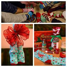 """Forget ugly sweaters or cookies. Holiday sock exchange party. Fill """"ugly christmas"""" socks & exchange"""