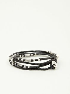 Black waxed cord bracelet