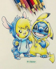 Pikachu and stich