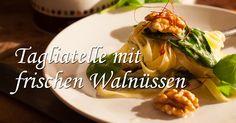 Leckere Tagliatelle in Spinat-Gorgonzola-Soße mit frischen KERNenergie Walnüssen. #Walnüsse #KERNenergie #Tagliatelle #NussenergiefürdenTag