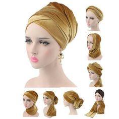 NEW Fashion women Luxury pleated velvet Turban hijab Head Wrap Extra Long tube indian Headwrap Scarf Tie Turban Hijab, Mode Turban, Cabelo Ombre Hair, Glamour Moda, Turban Tutorial, Hair Wrap Scarf, Hijab Caps, Velvet Shawl, Head Scarf Styles