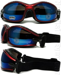 2b08e387f122 Shatterproof Foam Padded Motorcycle Goggles Smoke Mirror Color Frame 457