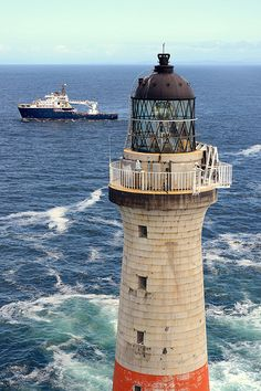 Aerial shot of Dubh Artach Lighthouse and Pharos 18 miles west of Colonsay, Scotland