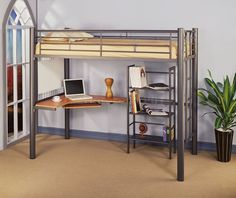 IKEA loft bed with desk - Metal bunk beds are much more popular than they once were warned. However, that the metal bunk beds require much more frequent Ikea Loft, Ikea Bunk Bed, Loft Bunk Beds, Bunk Bed Plans, Metal Bunk Beds, Modern Bunk Beds, Loft Bed Desk, Loft Bed Frame, Bunk Bed With Desk