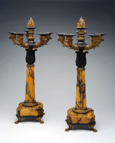 *Pair of Late Empire Candelabra. French, c. 1840-1850. marble, patinated bronze, and gilt bronze.