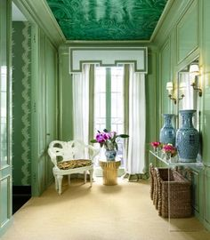 13 Glamorous Green Interiors To Fill You With Envy. Make an Entrance. Malachite decorative painting on the ceiling. Interior Design: Shelley Johnstone Paschke.