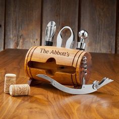 Personalized Wine Barrel Accessory Set- Wine connoisseurs love anything and everything that has to do with wine. That's why the Wine Barrel Accessory Kit makes such a great gift for anyone with a taste for fine wine. Crafted in the shape of a barrel, Gifts For Wine Lovers, Wine Gifts, Bar Gifts, Vodka Gifts, Whiskey Gifts, Wine Bottle Opener, Bottle Top, Bottle Labels, Wine Bottles