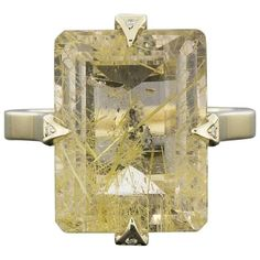 Preowned Custom One-of-a-kind Yellow Gold Certified Rutilated Quartz &... ($1,330) ❤ liked on Polyvore featuring jewelry, rings, cocktail rings, yellow, gold cocktail rings, gold jewellery, diamond cocktail rings, yellow gold cocktail rings and pre owned diamond rings